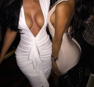 dress white dress ruffles deep v neck dress cleavage