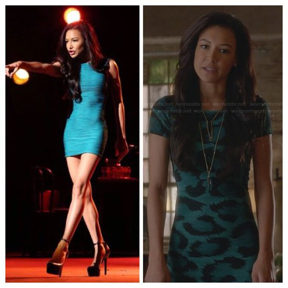 glee naya rivera santana lopez tight dress animal print neck less dress