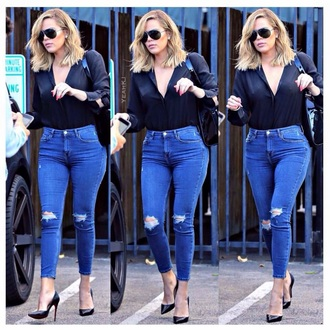 jeans high waisted jeans skinny jeans blue jeans blue ripped jeans denim khloe kardashian keeping up with the kardashians