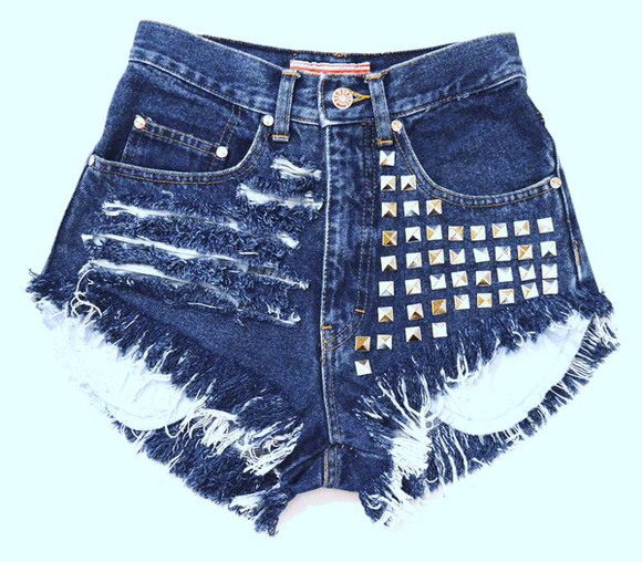 jeans vintage denim shorts studs High waisted shorts destroyed jeans funky shorts funky blue jeans sexy shorts