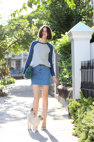 by chill blogger knitted sweater denim skirt