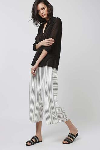 pants wide-leg pants stripes black and white cropped pants