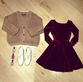 dress,shoes,red dress,velvet,blouse,sweater