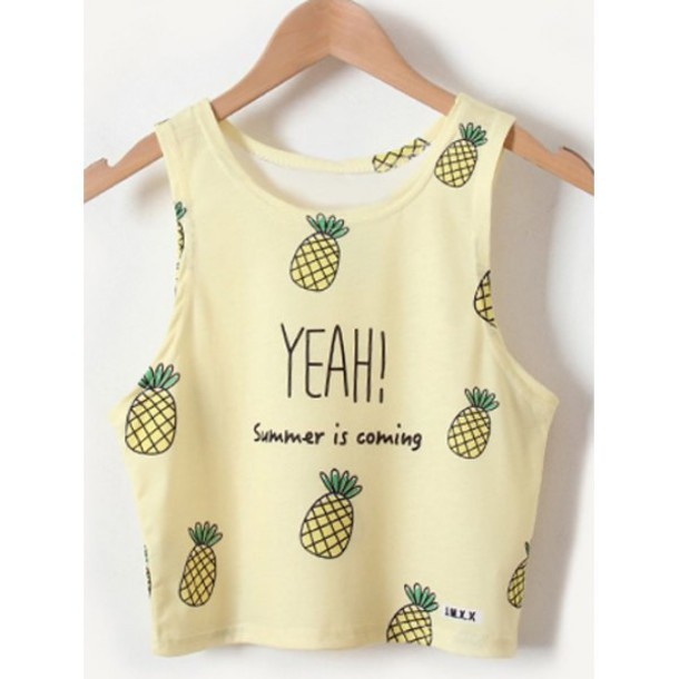 top rose wholesale pineapple print crop tops summer girly cute casual tumblr cute top fashion trendy style chic
