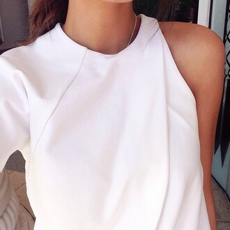 blouse white blouse cut out top one sleeve