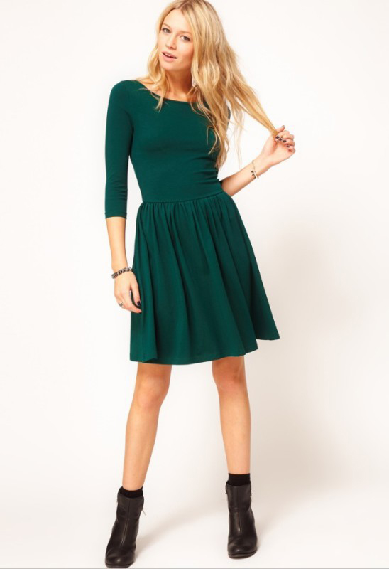 Green Three Quarter Length Sleeve Gathered Pleats Dress - Sheinside.com