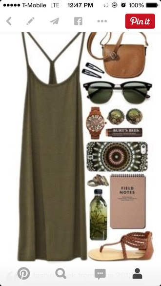 dress olive green army green spaghetti strap knee length dress racerback dress cotton simple dress style