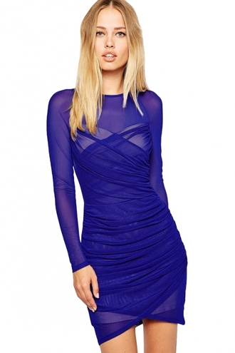dress mesh dress royal blue dress slinky dress wrap long sleeves