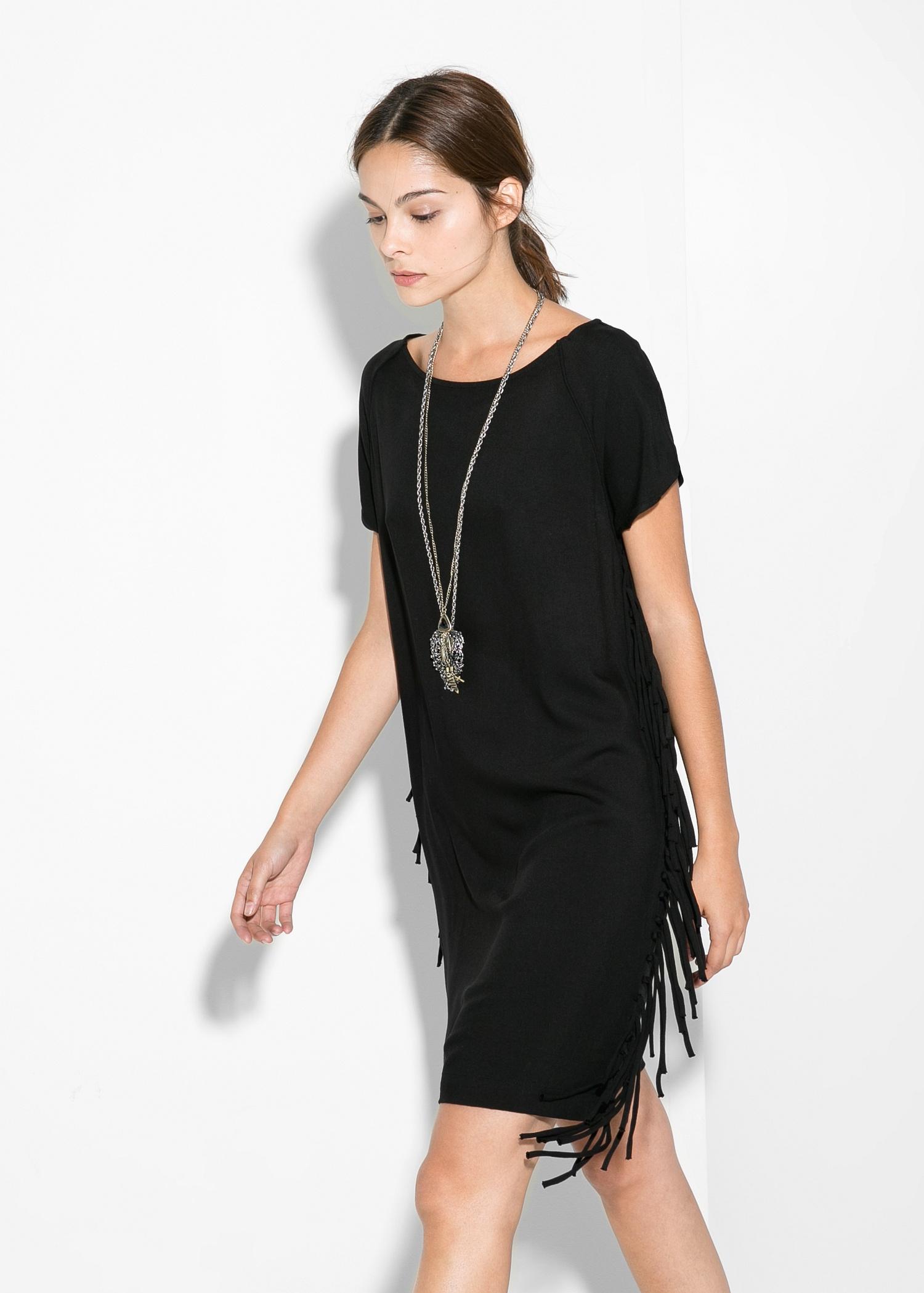 Fringed shift dress - Women | MANGO