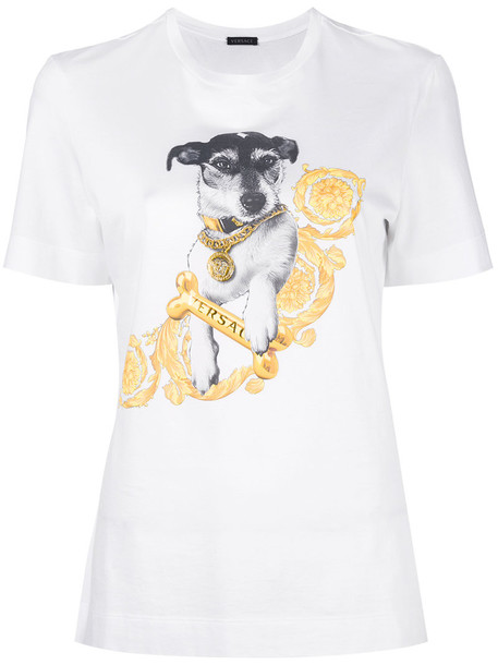 VERSACE t-shirt shirt t-shirt women white cotton top