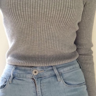 top light gray sweater grey sweater casual jeans shirt