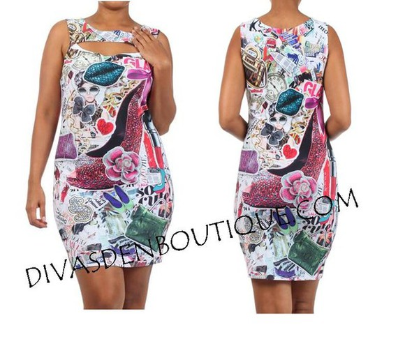 shoes dress high heels fashion plus size curvy mini dress fashion print makeup lipstick