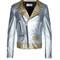 Metallic-leather biker jacket