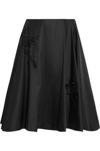 skirt beaded black satin