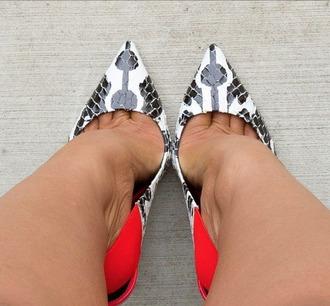 shoes pumps black and white slingback pumps snake skin colorblock coral heels