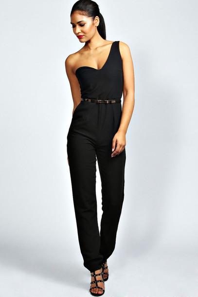 Pants: black, one shoulder, belted, jumpsuit - Wheretoget