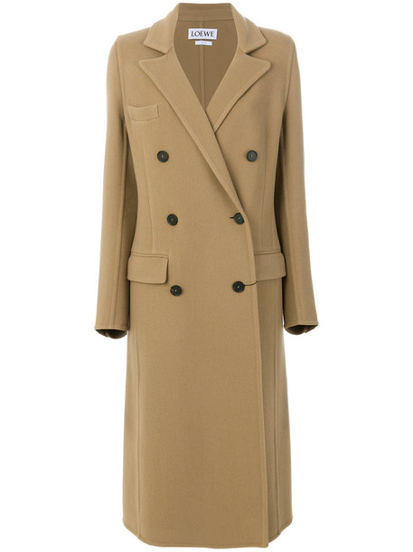 LOEWE coat double breasted women leather nude cotton wool