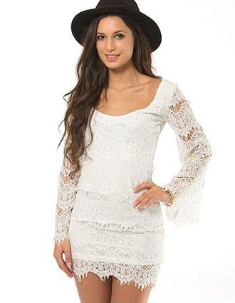 white dress white crochet white lace crochet lace long sleeves long sleeve dress rounded neck www.ustrendy.com