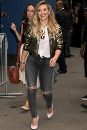 jacket,hilary duff,pumps,denim,jeans