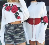 blouse,tumblr,white,crop tops,crop,cropped sweater,embroidered,floral