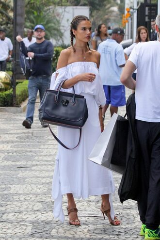 blouse pants wide-leg pants summer outfits off the shoulder alessandra ambrosio sandal heels purse