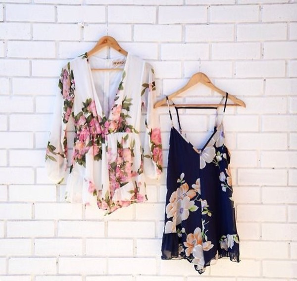 dress floral shirt jumpsuit romper party short flowers romper flowy dungaree thecarriediaries carrie print vintage