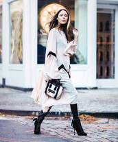 dress,tumblr,flowy,flowy dress,white dress,midi dress,long sleeves,long sleeve dress,puffed sleeves,bag,black and white,boots,black boots,ankle boots,velvet,velvet boots,velvet ankle boots,velvet shoes,lace up boots,pants,black pants,black leather pants,leather pants,dress over pants,puff sleeve dress