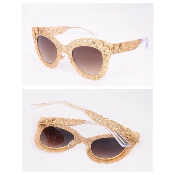 sunglasses gold dolce and gabbana floral shades sunflower transparent gold sequins gold design sunglasses at night