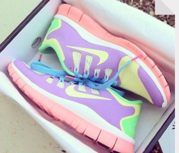 los angeles b1c41 21616 shoes nike nike free run pastel yellow purple pink green pastel pink nike  free run running