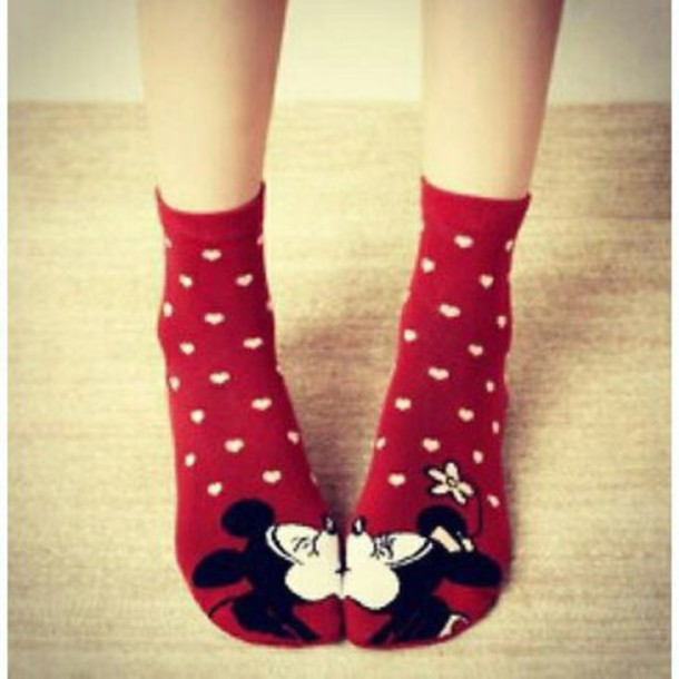socks red mickey mouse disney valentines day gift idea