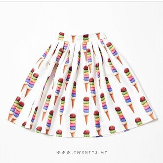 skirt ice cream skater skirt skater cute skirt colorful skirt ice cream cone icecream love