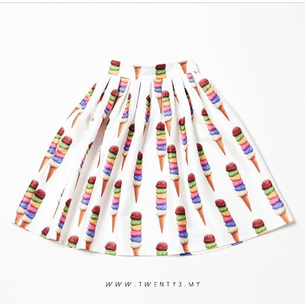 skirt ice cream skater skirt skater cute skirt colorful skirt ice cream cone icecream love
