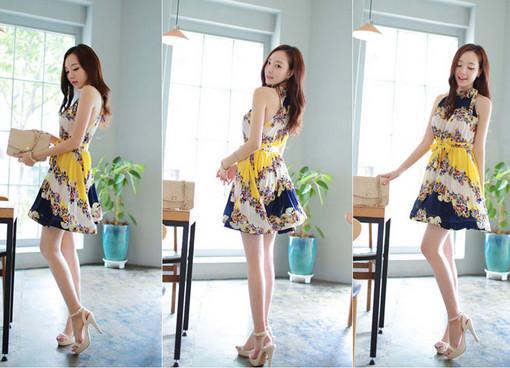2014 new fashion retro floral bohemian beach dress chiffon summer dress big swing   Amazing Shoes UK