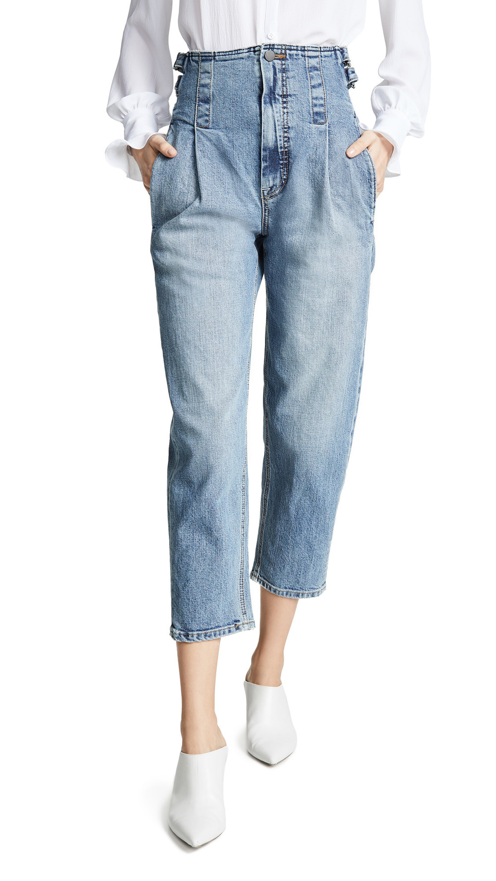 Colovos Vintage Buckle Pants in blue