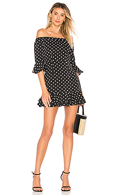 by the way. Faye Ruffle Off Shoulder Dress in Black & White from Revolve.com