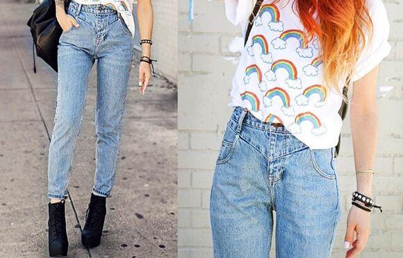baggy pants style jeans fashion momjeans boyfriendjeans boyfriend jeans mom jeans acid wash jeans vintage retro luanna perez rainbow t-shirt lua p