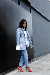locks and trinkets,blogger,shoes,denim jacket,jacket,jeans,sandals,high heel sandals