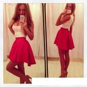 dress,skirt,short,red,summer,red skirt,pink,mini,pink dress,mini dress,irregular dress,cute dress
