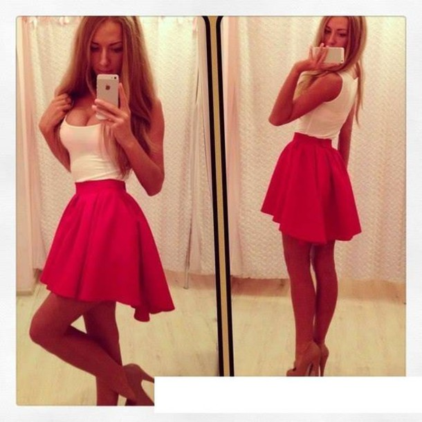 Dress: skirt, short, red, summer, red skirt, pink, mini, pink ...