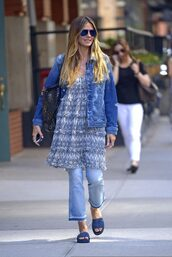 dress,jeans,slide shoes,heidi klum,jacket,spring outfits,streetstyle