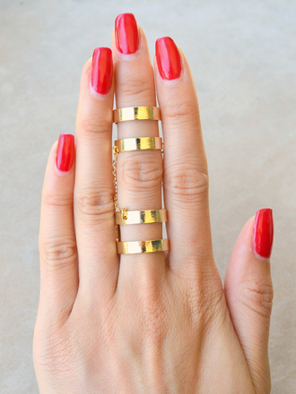 jewels ring gold gold ring gold chain chain ring double ring