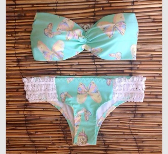 cute white butterfly swimwear butterflies bathing suit, swimsuit, colorful, summer, aztec, bandeau, lace blue swimwear baby blue summer2014 summer2013 ocean design beach style strapless bikini