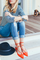 shoes,red shoes,pointed toe,strappy flats,lace-up shoes,cute,strappy,flats,orange,orange flats,lace up flats