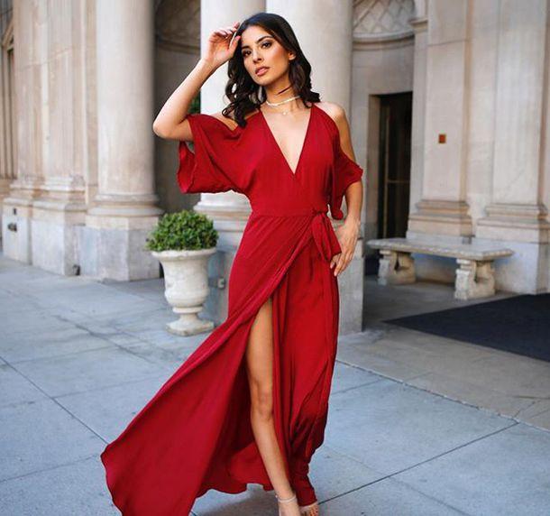 dress cold shoulder red black black dress angl slit dress wrap dress tie waist deep v silk maxi dress silk dress gown prom dress formal dress classy sexy sexy dress los angeles