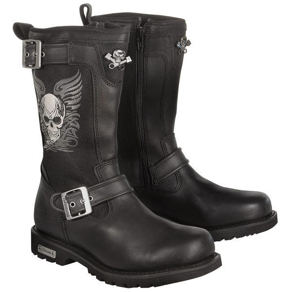 Xelement Women Black Skull Long Leather Biker Riding Motorcycle Boots | eBay