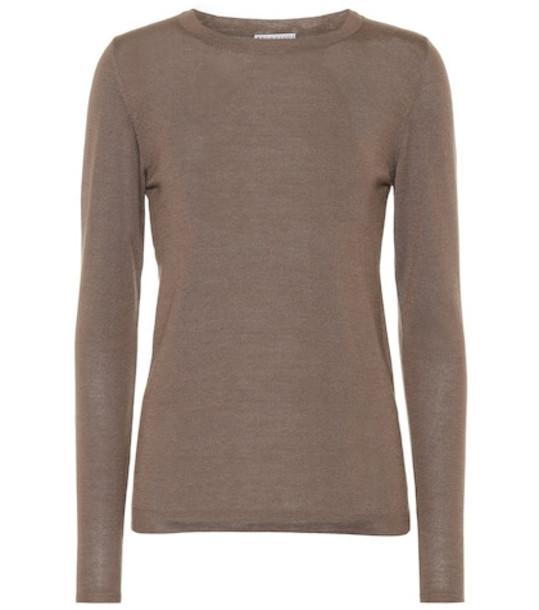 Brunello Cucinelli Cashmere and silk sweater in brown