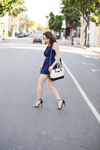 platforms for breakfast blogger romper mini dress black sandals shoulder bag navy