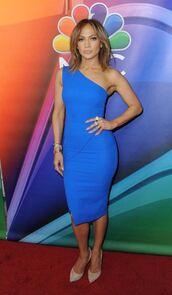 dress,blue,blue dress,jennifer lopez,pumps,midi dress,bodycon dress,one shoulder,victoria beckham dress