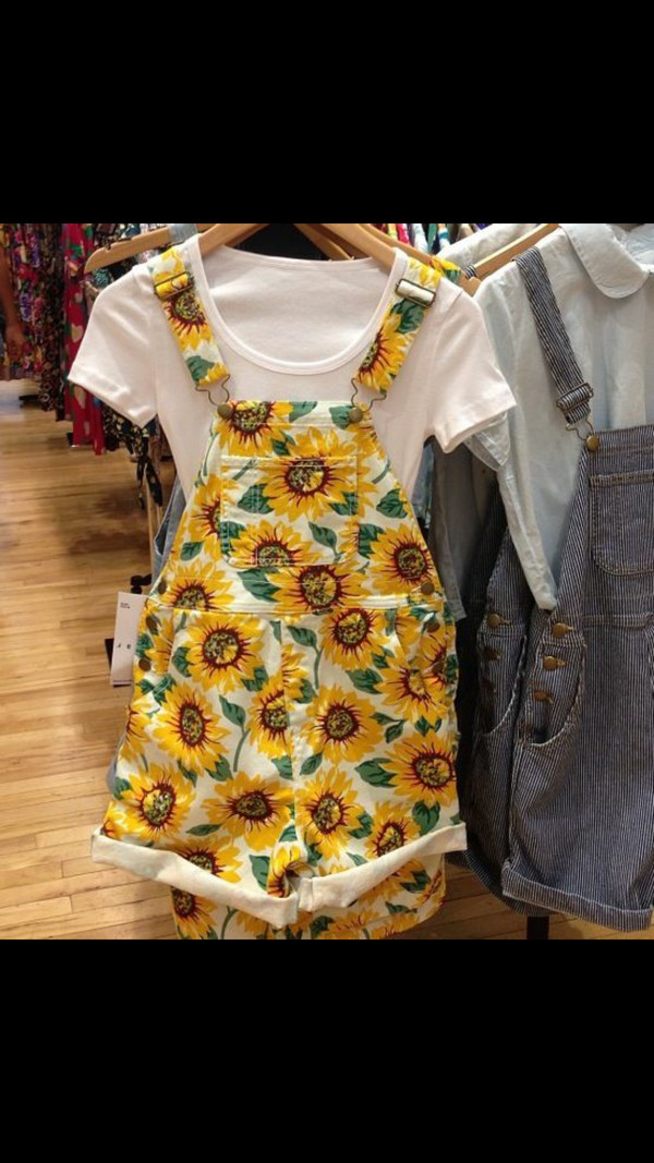 jumpsuit sunflower overalls short overalls