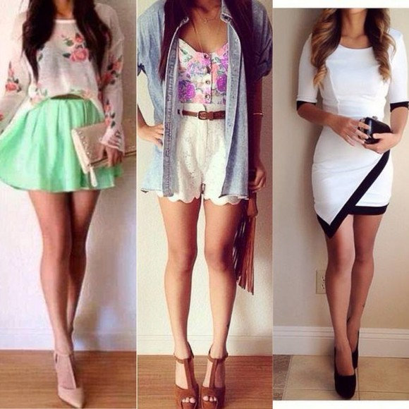 jacket mini skirt jeans white and black print high heels black shoes Belt bustier floral skinny skirt sun summer outfits night blouse white dress little dress mini dress skinny dress prom dress party dress black heels little skirt prints flowers bag socks